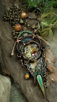 the Portal  Mixed Media Necklace by AlteredAlchemy on Etsy, $138.00