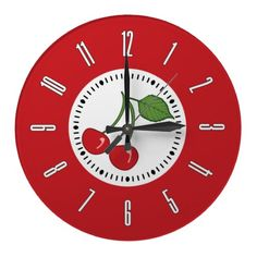 Red Retro Cherry Wallclocks #vintagebetty #zazzle #retro #cherryclock #retroclock #cherry #clock