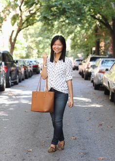 Skirt The Rules Blog; NYC fashion blogger; style blog; fall outfit photo; Express Portofinio Black and White Polka Dot Shirt; J Brand 811 Skinny Jeans; C. Wonder tortoise link necklace; Gigi New York Saddle Taylor Tote; Joie Dylan leopard loafers