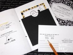 Composition Book Wedding Invitations by Letter Box Ink
