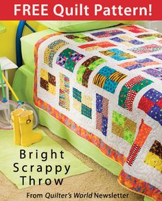 Bright Scrappy Throw Download from Quilter's World newsletter. Click on the photo to access the free pattern. Sign up for this free newsletter here: AnniesNewsletters.com.