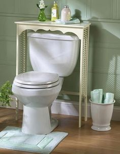 White Wood Above Toilet Bathroom Table w/ Wicker from Collections Etc.