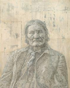 Geronimo, 2007  Inlaid maps on panel  by Matthew Cusick