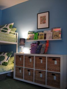 Great storage idea for boys room.