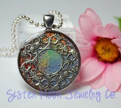 One of A Kind Prisma Pendant Abstract by SisterMoonJewelryCo, $18.50 #jewelry #handpainted #handmade #oneofakind #primsa
