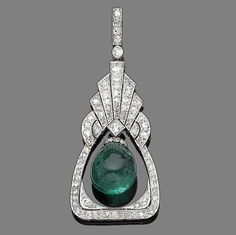 An emerald and diamond pendant, circa 1920  The tapering pierced plaque with fan-shaped surmount millegrain-set throughout with old brilliant and single-cut diamonds, suspending an emerald bead swing centre, diamonds approx. 1.30ct total, indistinct assay mark, length 5.5cm