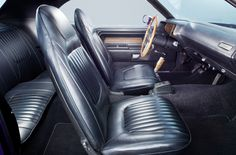 The 71 Dodge Hemi Challenger interior... this car is 1-of-8 radio delete units produced.