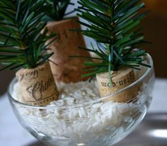 tiny trees - wine corks again!
