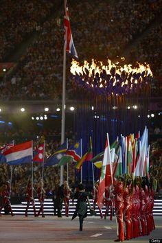Athletes from various nations parade bef
