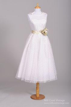 Chic vintage tea length short wedding dresses on for Dotted swiss wedding dress