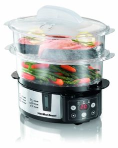 Hamilton Beach Digital Steamer | Designed for more cooking options -  Two tiers with removable divider - use the divider to separate the tiers or remove it for large foods -  Switches to warm when food is ready -  Fits corn on the cob or a head of broccoli - Steams delicate fish, lobster and fish.   #kitchen #cooking #Baking #gadgets #tools #Appliances