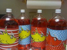 soda bottles, birthday parties, birthdays, ribbon, 1st birthday, dr suess, bday parti, parti idea, dr seuss