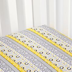 Grey and Yellow Striped Crib Sheet