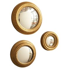 Gold Leaf Convex Wall Mirror Set of 3