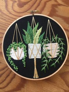 Hanging pots on black succulent and pot plant embroidery #needlework