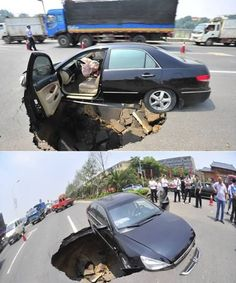 Car nearly swallowed by a sinkhole
