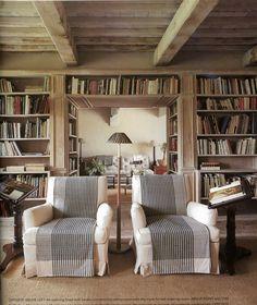 books, home libraries, dreams, bookcas, dream library, club chairs, beam, ceilings, shelv