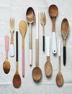 painted handle wooden spoons