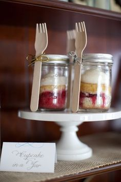 cupcakes in a mason jars.. with fork...