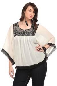 Pretty plus sized chiffon top. black lace, fashion, cloth, style, chiffon top, trim chiffon, lace chiffon, closet, cream