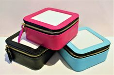Planet Earth Leather Jewel Case Multiple Colors #Jewel-Case #Jewelry-Box #Jewelry-Case |  Available in Pink, Black and Aqua  | Fits 3 x 3 #needlepoint Canvas | Self finishing