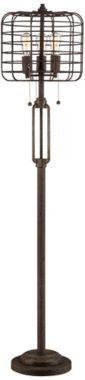<3 Industrial Cage Rust Metal 65-Inch-H Floor Lamp - #EUW7387 - Euro Style Lighting