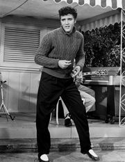"""Jailhouse Rock""  1957, Metro-Goldwyn-Mayer  Partial cast list: Elvis Presley, Judy Tyler, Mickey Shaughnessy, Vaughn Taylor, Jennifer Holden, Dean Jones, Ann Neyland, Hugh Sanders."