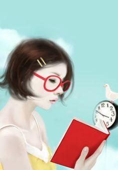 book worms, clock, book read, art, glass