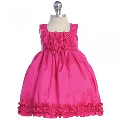 Baby Girls Fuchsia Taffeta Ruffle Easter Pageant Dress 0M-24M