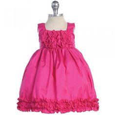 Baby Girls Fuchsia Taffeta Ruffle Easter Pageant Dress 0M-24M