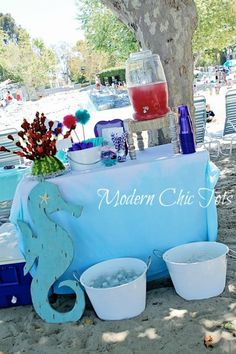 snacks and drinks seahors, birthday parties, birthdays, sea party, mermaid birthday, blog, snack, drink stations, anemones