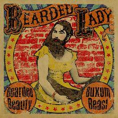 4 Freakshow posters. Bearded Lady. Tattooed Lady. Dog Face Boy. Pinhead. Carnival. Circus. Sideshow. 12x12. Kraft paper. Art. Print. on Etsy, $50.00 Beards Beauty, Beards Lady, Sideshow Posters, Bathroom Posters