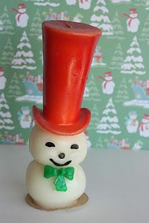 Vintage Christmas Candle ~ Gurley Snowman w/ Tall Red Top Hat