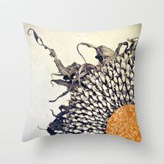 Sunflower Pillow Cover Vintage Decor Flower Pillow Decoration Black White 16 x 16 - Hand Colored Sunflower gone to seed on Etsy, $37.00