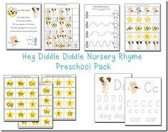 Hey Diddle Diddle Nursery Rhyme Preschool Pack Freebie