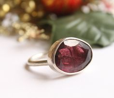 Freeform Rosecut Pink Tourmaline Passion Ring  OOAK US Size 6.