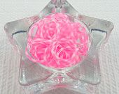Bright Pink and White Snow Dot Rainbow Loom Bands, 100 Count, Pink Tie Dye Bands, Pink Snow Flower Rainblow Loom Bands