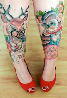 Awesome leg tattoos #deer #owl #glasses #flowers