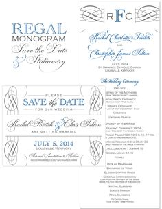 Regal Monogram Save the Date and Wedding Day Stationery | by The Green Kangaroo