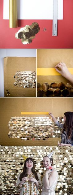 There are tons of options for DIY backdrops. Gold circles like above, a wall of balloons, several yards of fun fabric, some plywood with chalkboard paint and a jar of chalk for people to personalize it... the options are seriously endless.