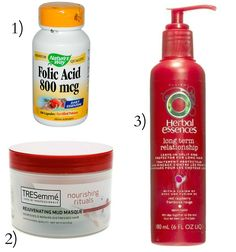 3 easy tips for longer, softer, stronger and healthier hair. 1) Folic Acid is essential for hair growth it strengthens and lengthens. 2) TreSemme mud mask, leave on for 3-5 minutes and it makes your hair super soft and shiny. 3)  Herbal Essence split end protector, use after getting out of the shower. Cures split ends and prevents them from returning.