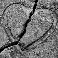 stamp designs into wet concrete... Broken Heart