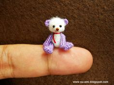 Micro Crochet Mohair Baby Teddy Bear by Su Ami