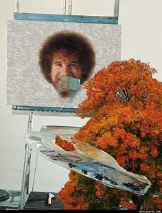 Happy trees bobross, remember this, bob ross, art, face swaps, beard, parallel universe, tree paintings, friend