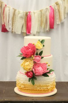 pretty colorful #ruffled #floral #cake
