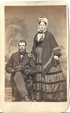 CDV Photo Gentleman Wife in Beautiful Period Fashion Dress Cooperstown NY 1860 | eBay