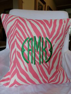love the colors on this monogrammed pillow