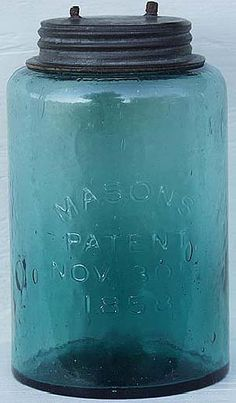 Quart size Crowleytown jar in strong teal color.