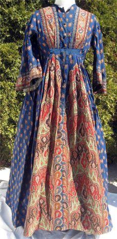 Civil War Era Blue Paisley Wool Challis Wrapper Maternity Dress For Study