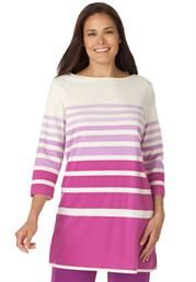 Love this fun knit tunic top in graduated stripes with 3/4 sleeves. #PlusSize